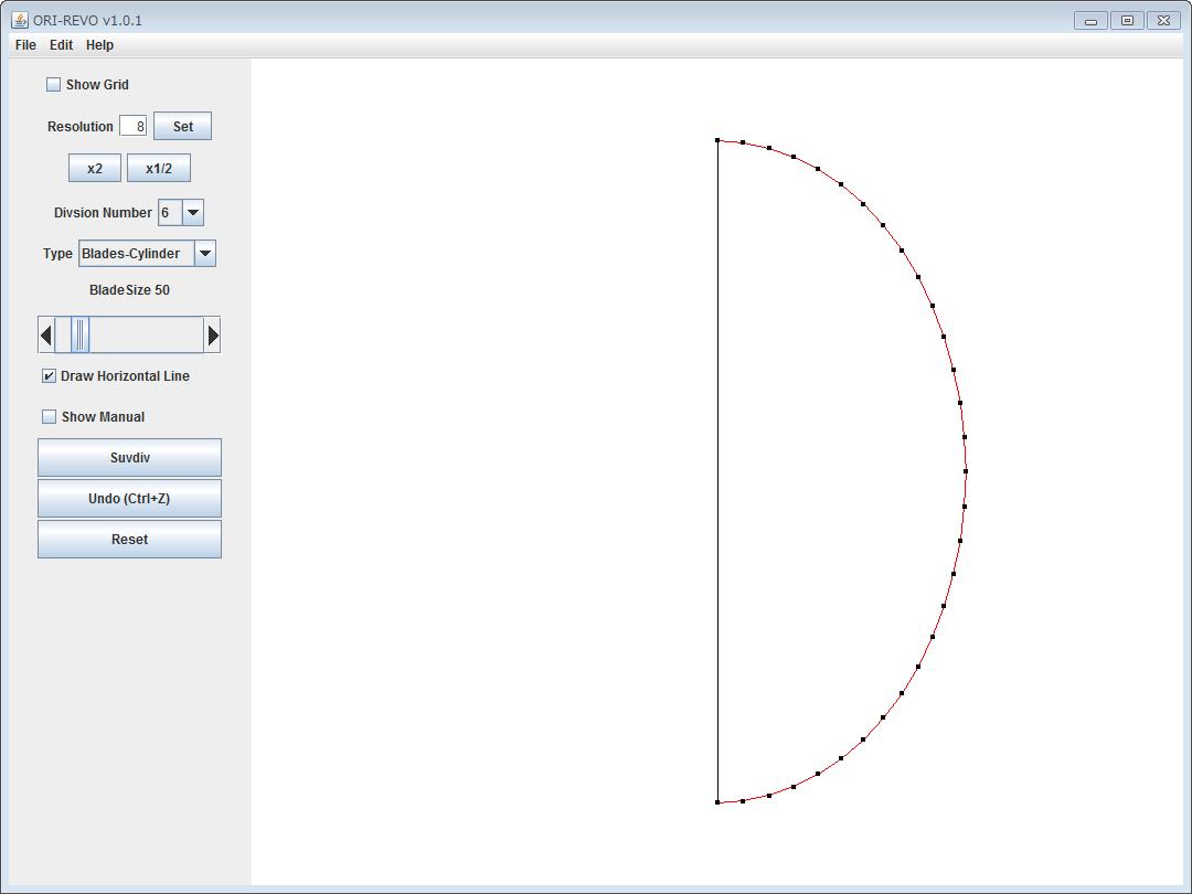 楕円のデータを読み込んだ ORI-REVO のスクリーンショット