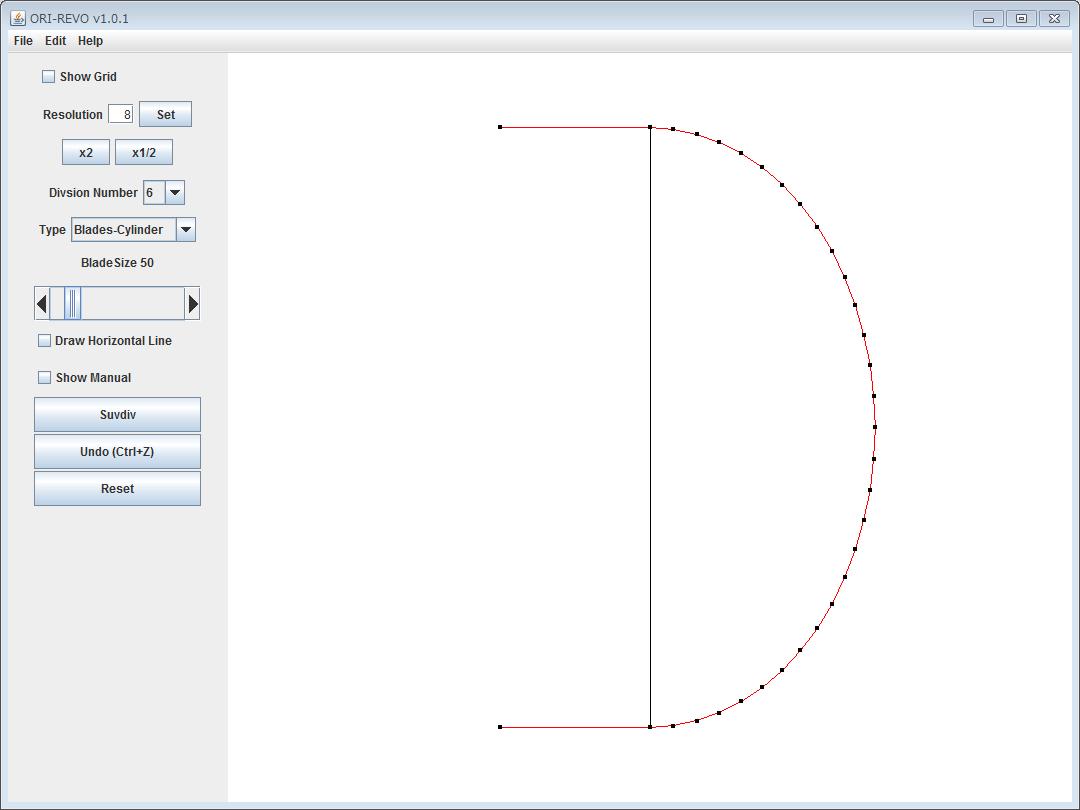 ねじり折り付き楕円のデータを読み込んだ ORI-REVO のスクリーンショット